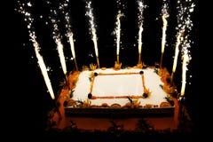 Urodzinowy owoc tort z fajerwerk świeczkami Zdjęcia Royalty Free
