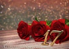Urodzinowy pojęcie z czerwonymi różami na drewnianym biurku seventeenth 17th 3 d czynią royalty ilustracja