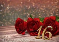 Urodzinowy pojęcie z czerwonymi różami na drewnianym biurku sixteenth 16th 3 d czynią Zdjęcie Royalty Free
