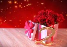 Urodzinowy pojęcie z czerwonymi różami w prezencie na drewnianym biurku second 2nd 3 d czynią Obraz Royalty Free