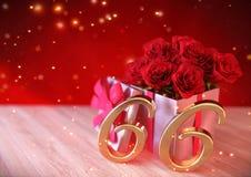 Urodzinowy pojęcie z czerwonymi różami w prezencie na drewnianym biurku szósty 66th 3 d czynią Zdjęcie Stock
