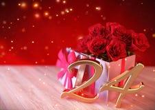 Urodzinowy pojęcie z czerwonymi różami w prezencie na drewnianym biurku twenty-fourth 24th 3 d czynią ilustracji