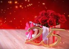 Urodzinowy pojęcie z czerwonymi różami w prezencie na drewnianym biurku twentyfifth 25th 3 d czynią Obraz Stock