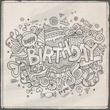 Urodzinowy ręki literowanie i doodles elementy Zdjęcia Stock