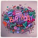 Urodzinowy ręki literowanie i doodles elementy Fotografia Royalty Free