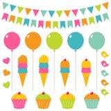 urodzinowy set Zdjęcia Royalty Free