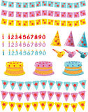 Urodzinowy set Obrazy Royalty Free