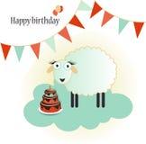 Urodzinowy szablonu kartka z pozdrowieniami na bielu Fotografia Stock