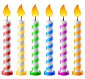 Urodzinowy tło z świeczkami Fotografia Royalty Free