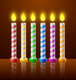 Urodzinowy tło z świeczkami Obrazy Royalty Free