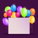 Urodzinowy tło z Kolorowymi balonami Obrazy Royalty Free