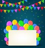Urodzinowy tło z balonami Fotografia Royalty Free
