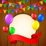 Urodzinowy tło z balonami i miejsce dla teksta na drewnianym tle Zdjęcia Royalty Free