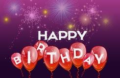 Urodzinowy tło z czerwonymi balonami Obraz Stock