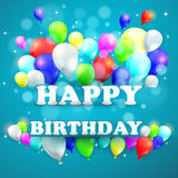 Urodzinowy tło z Kolorowymi balonami Obraz Royalty Free