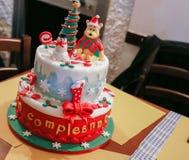Urodzinowy tort dla bożych narodzeń Fotografia Stock