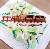 Urodzinowy tort kolejarz Fotografia Royalty Free