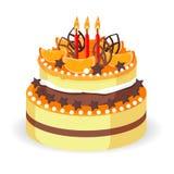 Urodzinowy tort z świeżymi czerwonymi jagodami, truskawkami i carambola wektorem, Zdjęcia Stock