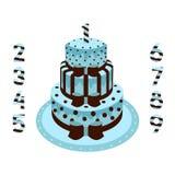 Urodzinowy tort z świeczkami błękitnymi dla chłopiec Fotografia Stock