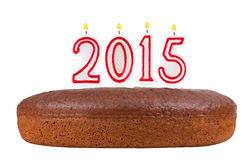 Urodzinowy tort z świeczkami liczba 2015 odizolowywająca Zdjęcie Royalty Free