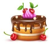 Urodzinowy tort z chocolare creme wektorowymi wiśniami i ilustracja ilustracji