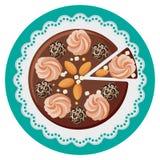 Urodzinowy tort z kremowymi kwiatami, czekoladowe piłki, dokrętki, odgórny widok Obrazy Stock