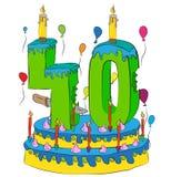 40 Urodzinowy tort Z liczbą Czterdzieści świeczek, Świętuje Fortieth rok życie, Kolorowych balony i Czekoladowego narzut, Zdjęcie Royalty Free