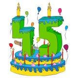 45 Urodzinowy tort Z liczbą Czterdzieści pięć świeczek, Świętuje kwinta rok życie, Kolorowych balony i Czekoladowego narzut, Zdjęcia Royalty Free