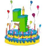 Urodzinowy tort Z liczbą Cztery świeczki, Świętować Czwarty Rok życie, Kolorowi balony i Czekoladowy narzut, Zdjęcie Stock