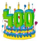 400 Urodzinowy tort Z liczbą Czterysta świeczek, Świętuje Cztery Hundredth roku życie, Kolorowych balony i Czekoladowego Coatin, Zdjęcia Royalty Free