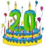 Urodzinowy tort Z liczbą Dwadzieścia świeczek, Świętuje Twentieth rok życie, Kolorowych balony i Czekoladowego narzut, Zdjęcie Stock