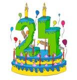 Urodzinowy tort Z liczbą Dwadzieścia cztery świeczka, Świętuje Twenty-Fourth rok życie, Kolorowych balony i Czekoladowego narzut, Zdjęcia Stock