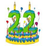 Urodzinowy tort Z liczbą Dwadzieścia dwa świeczki, Świętuje drugi rok życie, Kolorowych balony i Czekoladowego narzut, Obraz Royalty Free