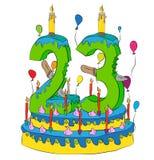 Urodzinowy tort Z liczbą Dwadzieścia trzy świeczki, Świętuje trzeci rok życie, Kolorowych balony i Czekoladowego narzut, Zdjęcie Royalty Free