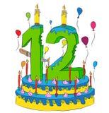 Urodzinowy tort Z liczbą Dwanaście świeczek, Świętuje Twelfth rok życie, Kolorowych balony i Czekoladowego narzut, Zdjęcia Royalty Free