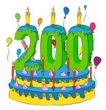 200 Urodzinowy tort Z liczbą Dwieście świeczek, Świętuje Dwa Hundredth roku życie, Kolorowych balony i Czekoladowego narzut, Zdjęcia Stock
