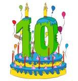 Urodzinowy tort Z liczbą Dziesięć świeczek, Świętuje Dziesiąty rok życie, Kolorowych balony i Czekoladowego narzut, Fotografia Stock