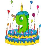 Urodzinowy tort Z liczbą Dziewięć świeczek, Świętuje Ninth rok życie, Kolorowych balony i Czekoladowego narzut, Zdjęcia Royalty Free