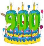 900 Urodzinowy tort Z liczbą Dziewiećset świeczek, Świętuje Dziewięć Hundredth rok życie, Kolorowych balony i Czekoladowego Coati Fotografia Royalty Free