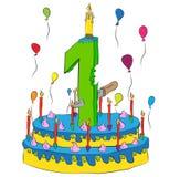 Urodzinowy tort Z liczbą Jeden świeczka, Świętuje Pierwszy rok życie, Kolorowych balony i Czekoladowego narzut, Obraz Stock