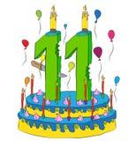 Urodzinowy tort Z liczbą Jedenaście świeczek, Świętuje Jedenasty rok życie, Kolorowych balony i Czekoladowego narzut, Obrazy Royalty Free