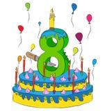Urodzinowy tort Z liczbą Osiem świeczek, Świętuje Eighth rok życie, Kolorowych balony i Czekoladowego narzut, Obrazy Royalty Free