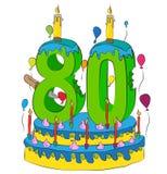 80 Urodzinowy tort Z liczbą Osiemdziesiąt świeczek, Świętuje Eightieth rok życie, Kolorowych balony i Czekoladowego narzut, Zdjęcie Stock