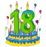 Urodzinowy tort Z liczbą Osiemnaście świeczek, Świętuje Eighteenth rok życie, Kolorowych balony i Czekoladowego narzut, Zdjęcie Stock