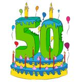 50 Urodzinowy tort Z liczbą Pięćdziesiąt świeczek, Świętuje Fiftieth rok życie, Kolorowych balony i Czekoladowego narzut, Fotografia Royalty Free