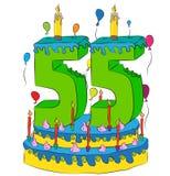 55 Urodzinowy tort Z liczbą Pięćdziesiąt pięć świeczek, Świętuje kwinta rok życie, Kolorowych balony i Czekoladowego narzut, Zdjęcia Royalty Free
