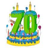 70 Urodzinowy tort Z liczbą Siedemdziesiąt świeczek, Świętuje Seventieth rok życie, Kolorowych balony i Czekoladowego narzut, Fotografia Stock