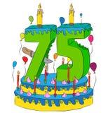 75 Urodzinowy tort Z liczbą Siedemdziesiąt pięć świeczek, Świętuje kwinta rok życie, Kolorowych balony i Czekoladowego narzut, Fotografia Royalty Free