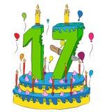 Urodzinowy tort Z liczbą Siedemnaście świeczek, Świętuje Seventeenth rok życie, Kolorowych balony i Czekoladowego narzut, Obraz Stock