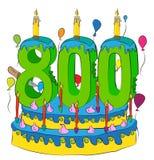 700 Urodzinowy tort Z liczbą Siedemset świeczek, Świętuje Siedem Hundredth rok życie, Kolorowych balony i Czekoladowego żakiet, Zdjęcia Stock